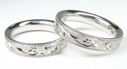 手彫りのデザインでオーダーメイド結婚指輪
